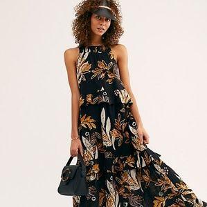 Free People Anita Printed Maxi Dress in Black